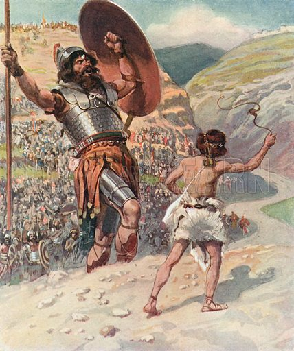David Slings the Stone. Illustration for The Old Testament - Part II (Brunoff, 1904).