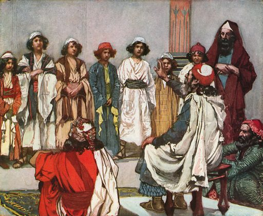 Jesse Presents his Sons to Samuel. Illustration for The Old Testament - Part II (Brunoff, 1904).