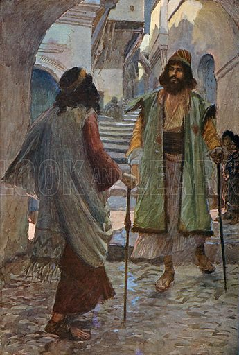 Saul Meeteth with Samuel. Illustration for The Old Testament - Part II (Brunoff, 1904).