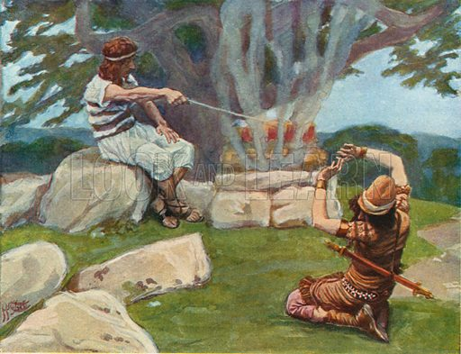 The Angel puts Fire on the Altar of Gideon. Illustration for The Old Testament - Part II (Brunoff, 1904).