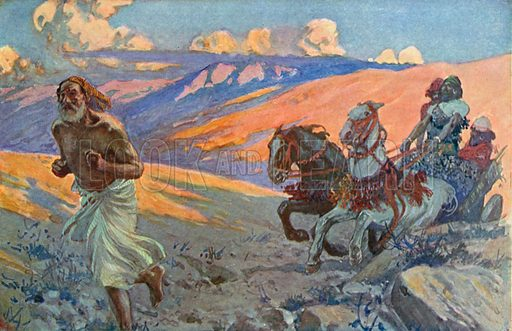Elijah Runs before the Chariot of Ahab. Illustration for The Old Testament - Part II (Brunoff, 1904).