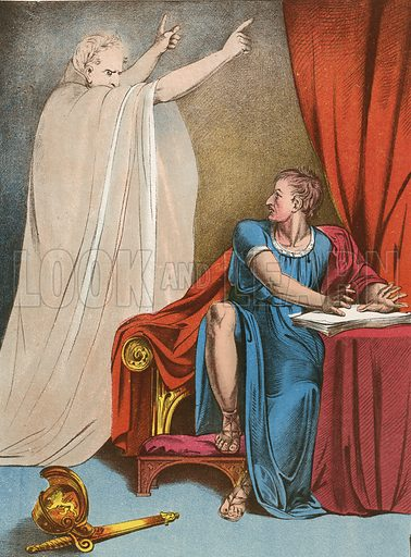 Brutus and the ghost of Julius Caesar.  Illustration for The Complete Works of Shakespeare (John G Murdoch, 1876).