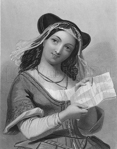 Mistress Ford.  Illustration for The Complete Works of Shakespeare (John G Murdoch, 1876).