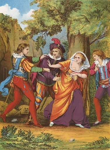 Valentine, Proteus, Silvia and Julia.  Illustration for The Complete Works of Shakespeare (John G Murdoch, 1876).