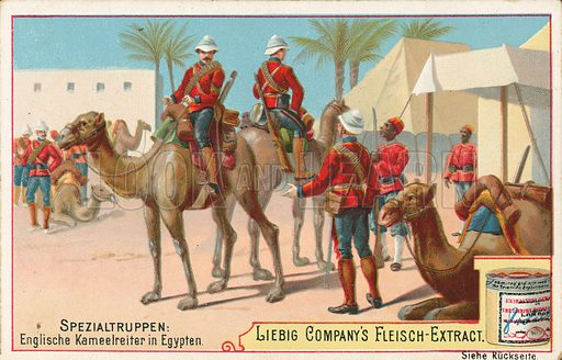 English soldiers on camels. Illustration for Liebig card (early 20th century).