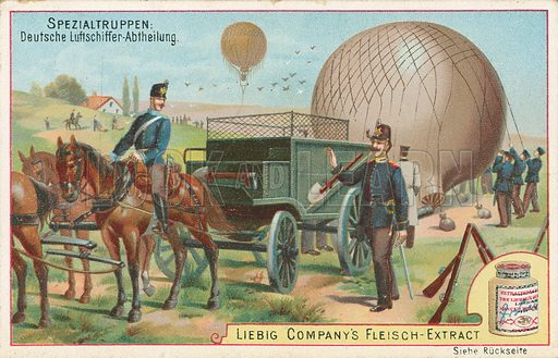 Soldiers in balloons. Illustration for Liebig card (early 20th century).