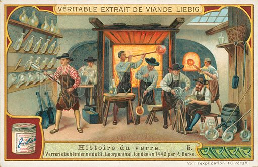 History of glass. Illustration for Liebig card (early 20th century).