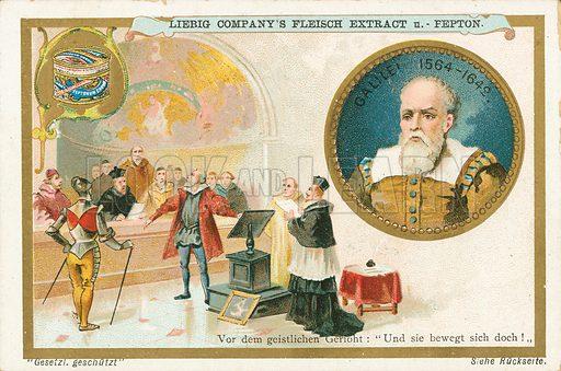 Galileo. Illustration for Liebig card (early 20th century).