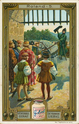 The story of Roland. Illustration for Liebig card (early 20th century).