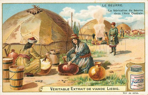 Butter. Illustration for Liebig card (early 20th century).