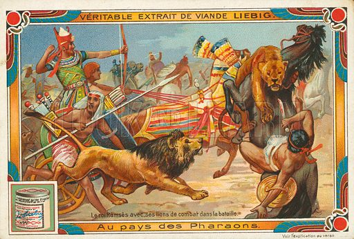 Ramses with his lions in battle. Illustration for Liebig card (early 20th century).