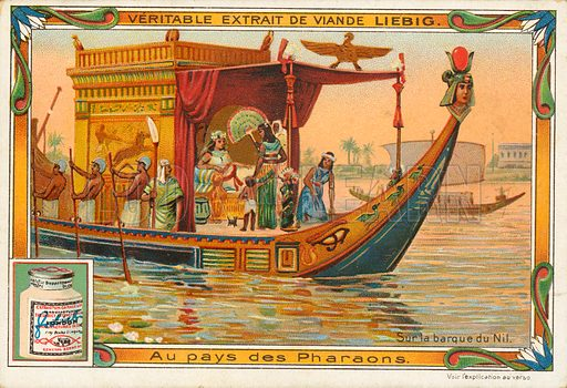 On a  barge in the Nile.  Illustration for Liebig card (early 20th century).