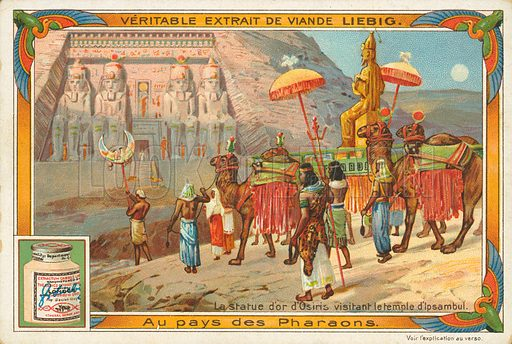 Statue of Osiris visiting the temple of Ipsambul.  Illustration for Liebig card (early 20th century).