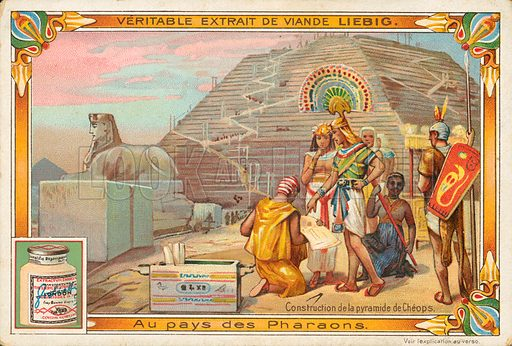 Construction of the pyramid of Cheops. Illustration for Liebig card (early 20th century).