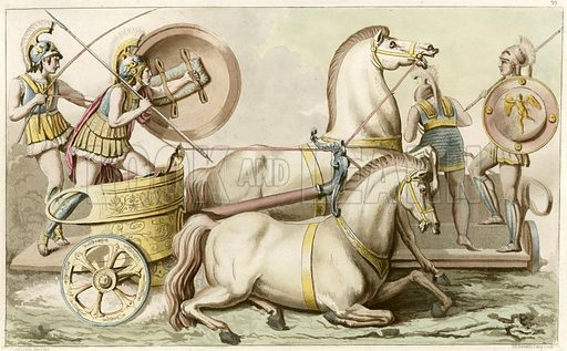 Greek soldiers in a chariot.