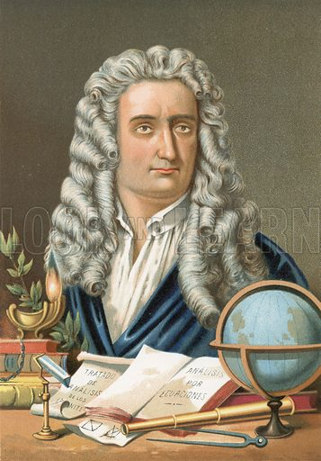 Isaac Newton.  Illustration for La Ciencia Y Sus Hombres by Luis Figuier (D Jaime Seix, 1876).  Large chromolithograph.