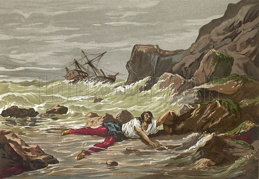 Death of Vesalius in a shipwreck on his return from the Holy Land.  Illustration for La Ciencia Y Sus Hombres by Luis Figuier (D Jaime Seix, 1876).  Large chromolithograph.