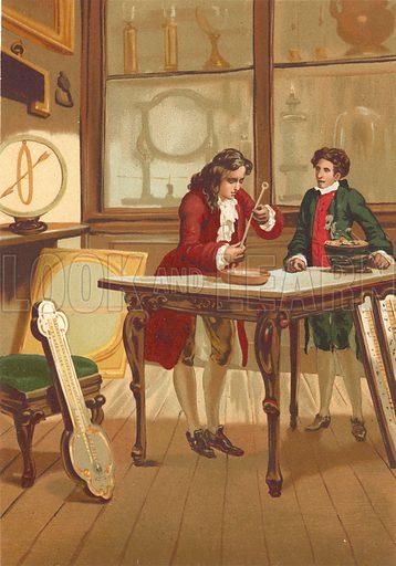 Rene Antoine Ferchault de Reaumur constructing the thermometer.  Illustration for La Ciencia Y Sus Hombres by Luis Figuier (D Jaime Seix, 1876).  Large chromolithograph.