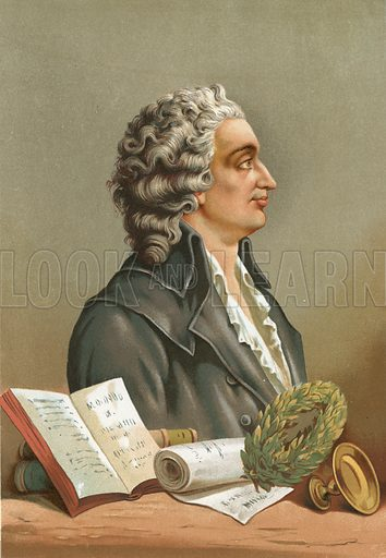 Condorcet.  Illustration for La Ciencia Y Sus Hombres by Luis Figuier (D Jaime Seix, 1876).  Large chromolithograph.