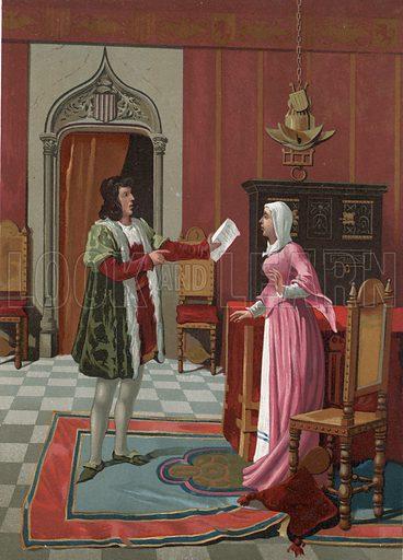 Enrique de Villena telling his wife that he has been elected master of Calatrava.  Illustration for La Ciencia Y Sus Hombres by Luis Figuier (D Jaime Seix, 1876).  Large chromolithograph.