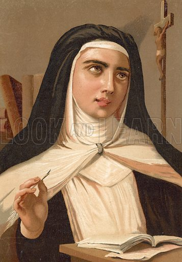 Saint Teresa of Jesus.  Illustration for La Ciencia Y Sus Hombres by Luis Figuier (D Jaime Seix, 1876).  Large chromolithograph.