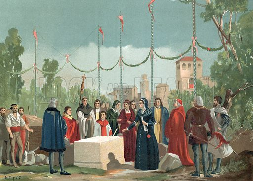 Foundation of the Hospital of the Latina in Madrid in 1506.  Illustration for La Ciencia Y Sus Hombres by Luis Figuier (D Jaime Seix, 1876).  Large chromolithograph.