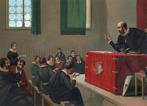 Fray Melchor teaching at the university of Salamanca.  Illustration for La Ciencia Y Sus Hombres by Luis Figuier (D Jaime Seix, 1876).  Large chromolithograph.