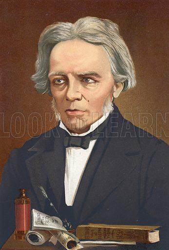 Michael Faraday.  Illustration for La Ciencia Y Sus Hombres by Luis Figuier (D Jaime Seix, 1876).  Large chromolithograph.