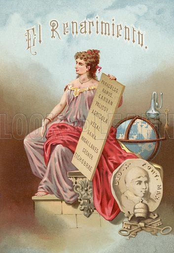 El Renacmiento or Renaissance.  Illustration for La Ciencia Y Sus Hombres by Luis Figuier (D Jaime Seix, 1876).  Large chromolithograph.