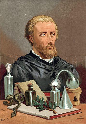 Paracelsus.  Illustration for La Ciencia Y Sus Hombres by Luis Figuier (D Jaime Seix, 1876).  Large chromolithograph.