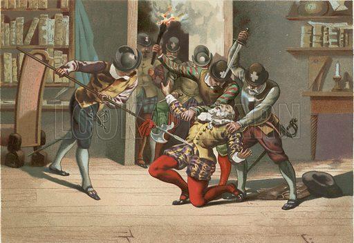 Death of Ramus.  Illustration for La Ciencia Y Sus Hombres by Luis Figuier (D Jaime Seix, 1876).  Large chromolithograph.