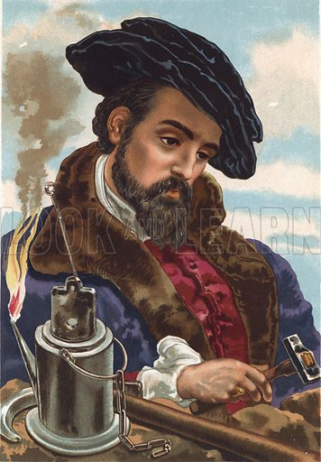 Georgius Agricola.  Illustration for La Ciencia Y Sus Hombres by Luis Figuier (D Jaime Seix, 1876).  Large chromolithograph.
