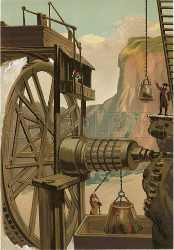 Agricola directing the mines of Freyberg.  Illustration for La Ciencia Y Sus Hombres by Luis Figuier (D Jaime Seix, 1876).  Large chromolithograph.