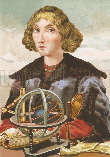 Nicolaus Copernicus.  Illustration for La Ciencia Y Sus Hombres by Luis Figuier (D Jaime Seix, 1876).  Large chromolithograph.