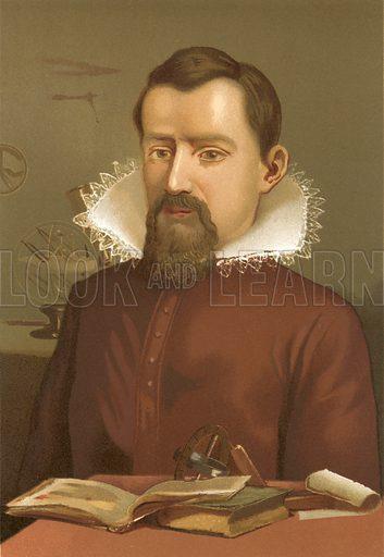Johannes Kepler.  Illustration for La Ciencia Y Sus Hombres by Luis Figuier (D Jaime Seix, 1876).  Large chromolithograph.