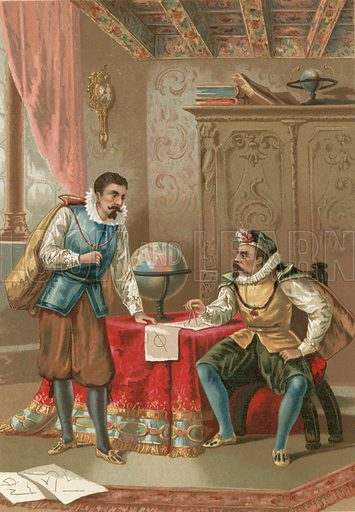 Kepler and Tycho Brahe in the observatory in Prague.  Illustration for La Ciencia Y Sus Hombres by Luis Figuier (D Jaime Seix, 1876).  Large chromolithograph.
