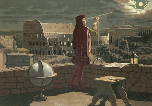 Copernicus observing in Rome an eclipse of the moon.  Illustration for La Ciencia Y Sus Hombres by Luis Figuier (D Jaime Seix, 1876).  Large chromolithograph.
