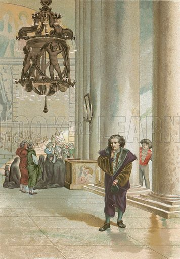 Galileo in the cathedral in Pisa.  Illustration for La Ciencia Y Sus Hombres by Luis Figuier (D Jaime Seix, 1876).  Large chromolithograph.