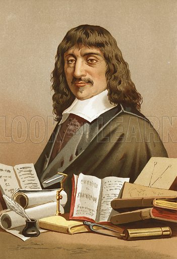 Rene Descartes.  Illustration for La Ciencia Y Sus Hombres by Luis Figuier (D Jaime Seix, 1876).  Large chromolithograph.