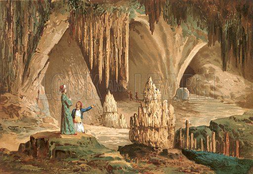 Joseph Pitton de Tournefort visiting the grotto of Antiparos in Greece.  Illustration for La Ciencia Y Sus Hombres by Luis Figuier (D Jaime Seix, 1876).  Large chromolithograph.