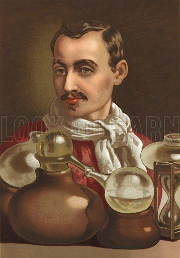 Jan Baptist van Helmont. Illustration for La Ciencia Y Sus Hombres by Luis Figuier (D Jaime Seix, 1876).  Large chromolithograph.