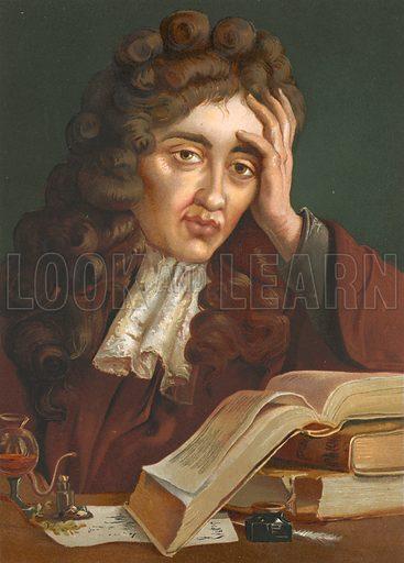 Robert Boyle.  Illustration for La Ciencia Y Sus Hombres by Luis Figuier (D Jaime Seix, 1876).  Large chromolithograph.