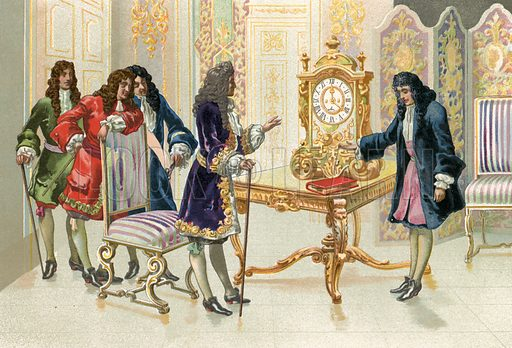 Christiaan Huygens presenting the pendulum clock to Louis XIV.  Illustration for La Ciencia Y Sus Hombres by Luis Figuier (D Jaime Seix, 1876).  Large chromolithograph.