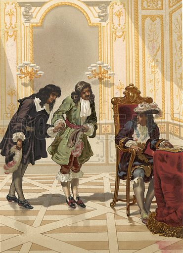 Giovanni Domenico Cassini presented to Louis XIV by Colbert.  Illustration for La Ciencia Y Sus Hombres by Luis Figuier (D Jaime Seix, 1876).  Large chromolithograph.
