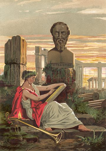 Herodotus.  Illustration for La Ciencia Y Sus Hombres by Luis Figuier (D Jaime Seix, 1876).  Large chromolithograph.