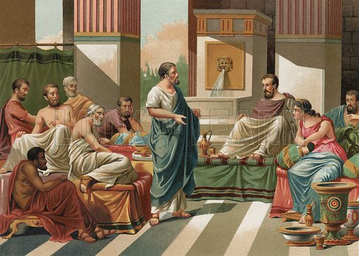 Banquet given by the Seven Sages of Greece.  Illustration for La Ciencia Y Sus Hombres by Luis Figuier (D Jaime Seix, 1876).  Large chromolithograph.