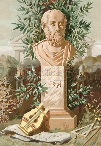 Plato.  Based on the bust in the Uffizzi in Florence and the iconography of Visconti.  Illustration for La Ciencia Y Sus Hombres by Luis Figuier (D Jaime Seix, 1876).  Large chromolithograph.