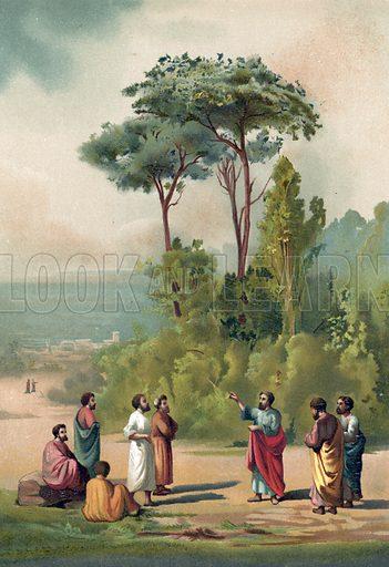 Plato and his disciples in the gardens of the Academia.  Illustration for La Ciencia Y Sus Hombres by Luis Figuier (D Jaime Seix, 1876).  Large chromolithograph.