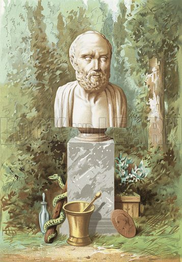 Hippocrates.  Based on the bust in the Louvre.  Illustration for La Ciencia Y Sus Hombres by Luis Figuier (D Jaime Seix, 1876).  Large chromolithograph.