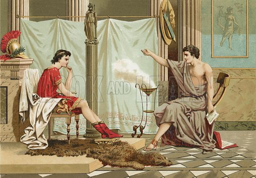 Education of Alexander the Great by Aristotle.  Illustration for La Ciencia Y Sus Hombres by Luis Figuier (D Jaime Seix, 1876).  Large chromolithograph.